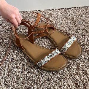 Old Navy beaded sandals with ankle strap